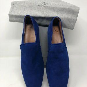Aquatalia Revy Dress Suede Loafer in Cobalt Blue